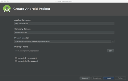 Create New Android Project with Example | Tutorial and Example