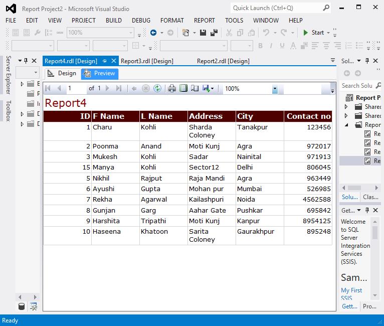 Create a Tablix report 18