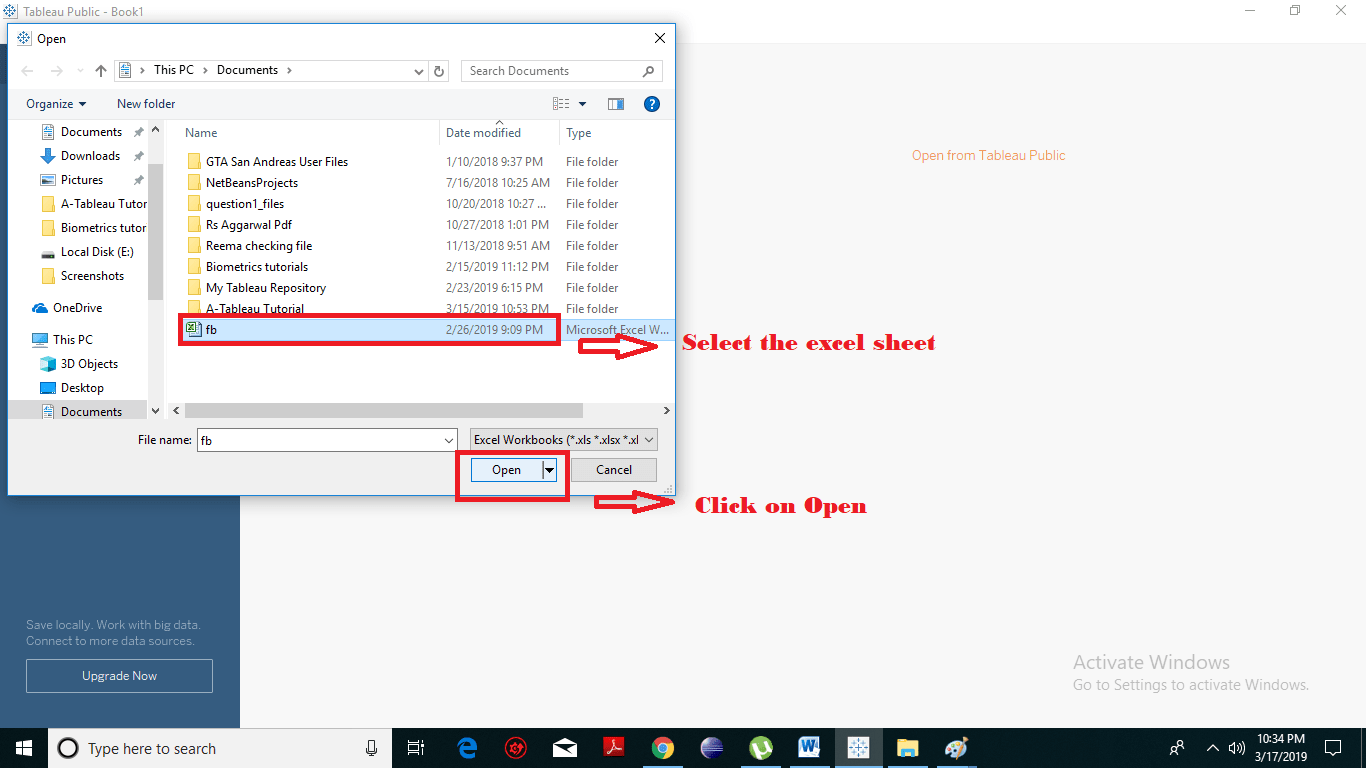 Tableau Select your excel file and click-min