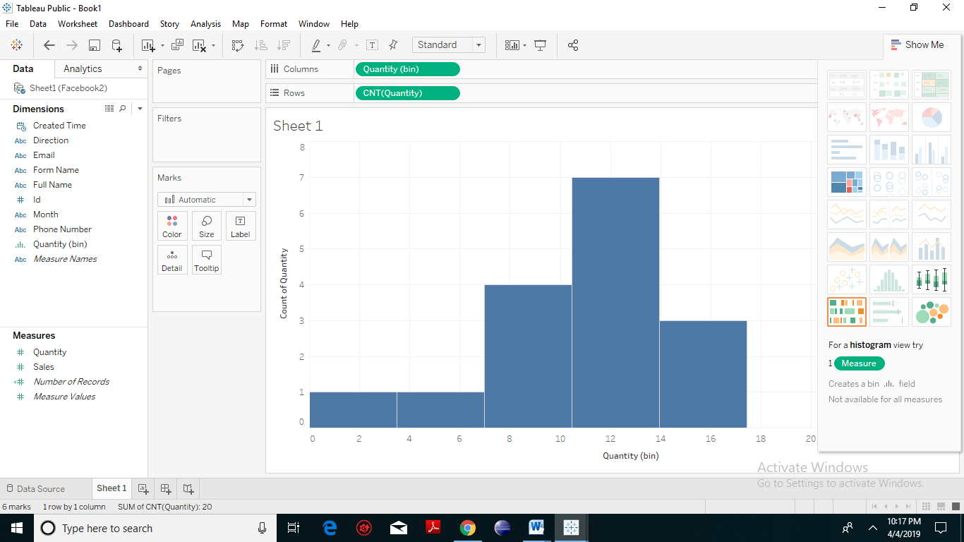 Creating Histogram chart in Tableau 3
