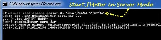 JMeter runs on the server computer