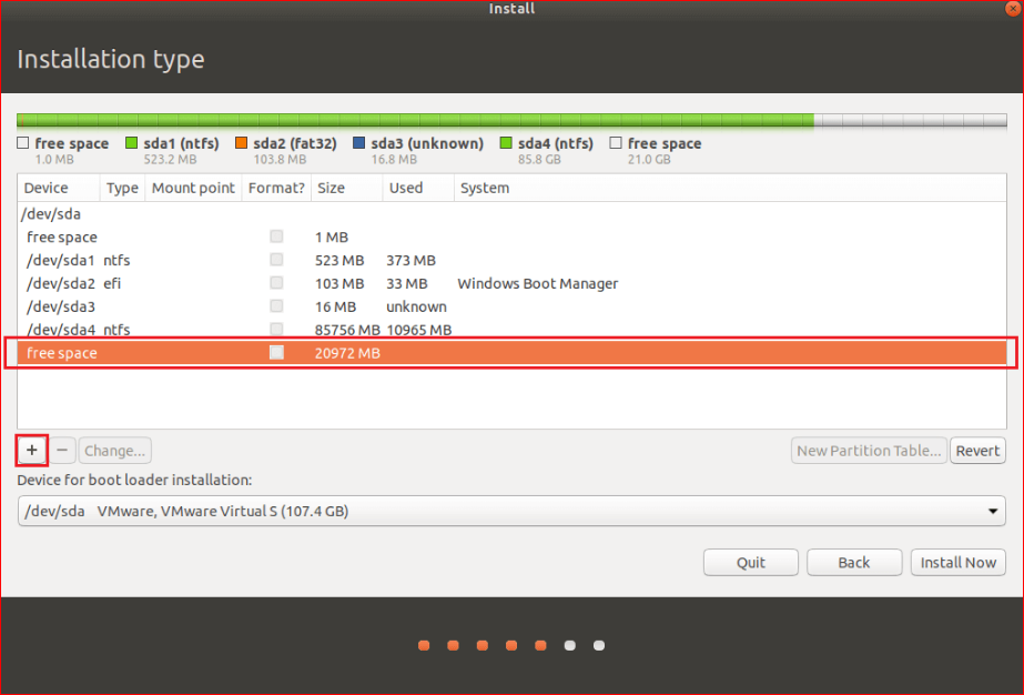 create a partition for Ubuntu