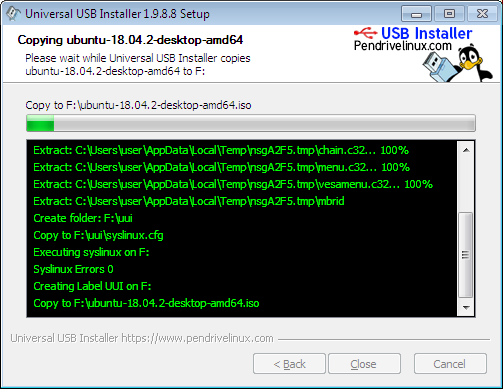ubuntu installation process is in progress