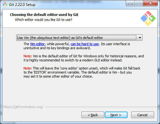 Choosing Default Editor