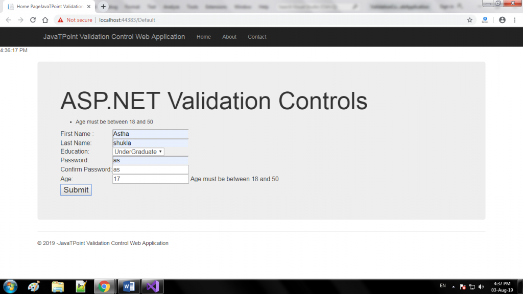 ASP.NET Validation Controls 4
