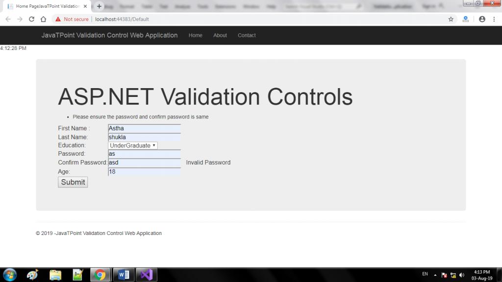 ASP.NET Validation Controls 5