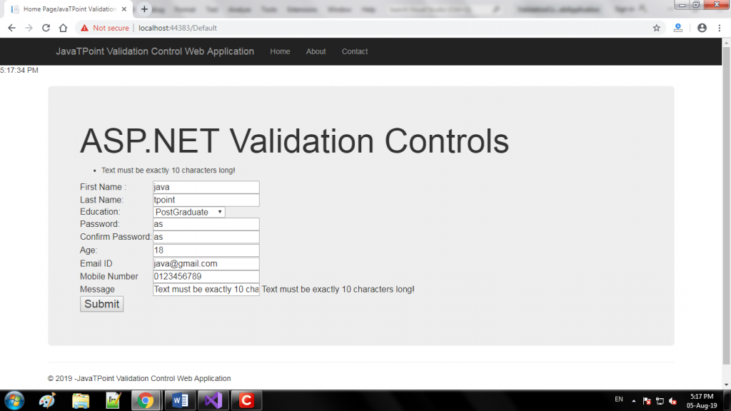 ASP.NET Validation Controls 7