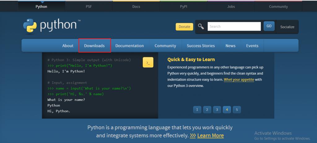 Python Installation Step 1