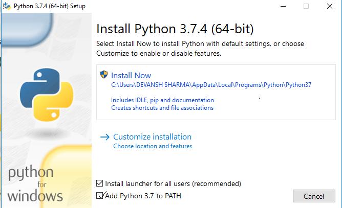 Python Installation step 3