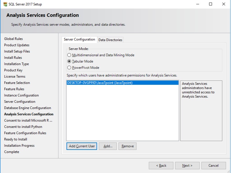Analysis Services configuration is used to analyze