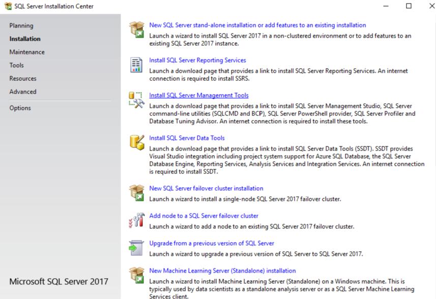 Install SQL server management tool