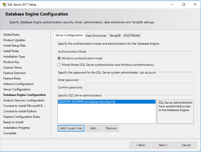 you will see the Database Engine Configuration setting