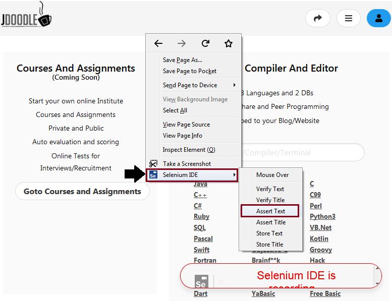Click on Selenium IDE