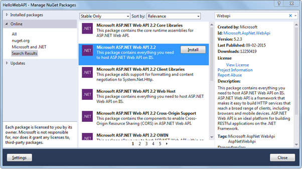 Select Microsoft ASP.NET Web API2.2 bundle