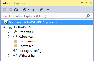 Web API controller in the Controllers folder and configuration class