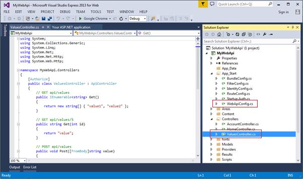 WebApiConfig.cs in App_Start folder
