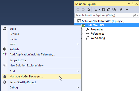click Manage NuGet Packages.. as shown below.