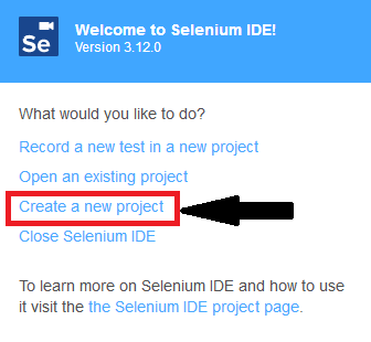 click on create a new project