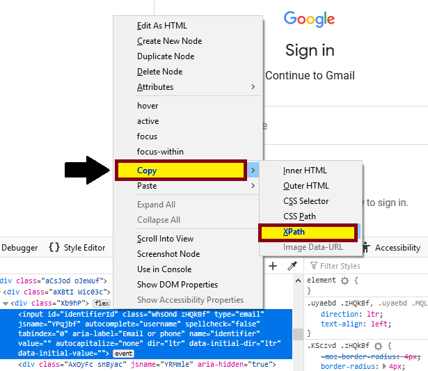 click on the elements HTML code and then select the Copy XPath option