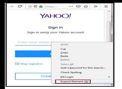 command loads the login page of yahoo on Firefox browser
