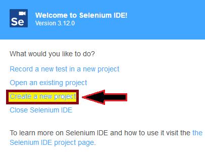 default interface of Selenium-IDE