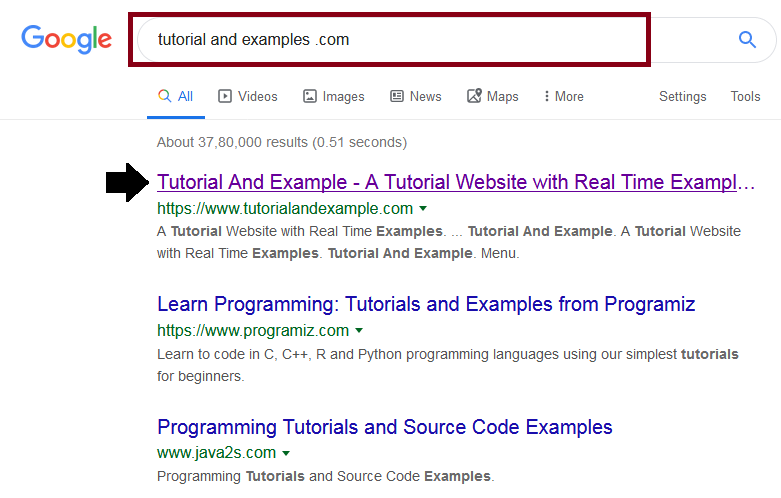 you can type tutorial and example.com and click on the first link