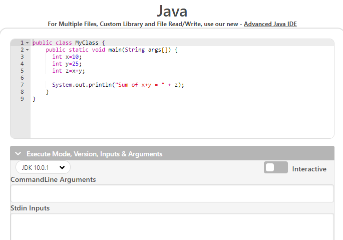 you will get the java compiler page