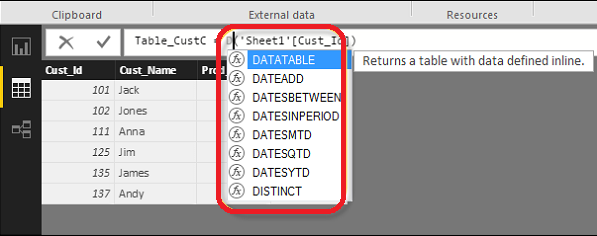 Power BI provides a simple way to view a list of all features.