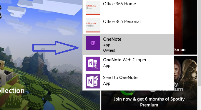 Search for Microsoft OneNote