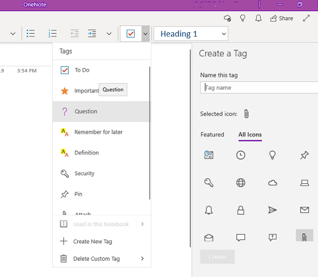 Tag in OneNote