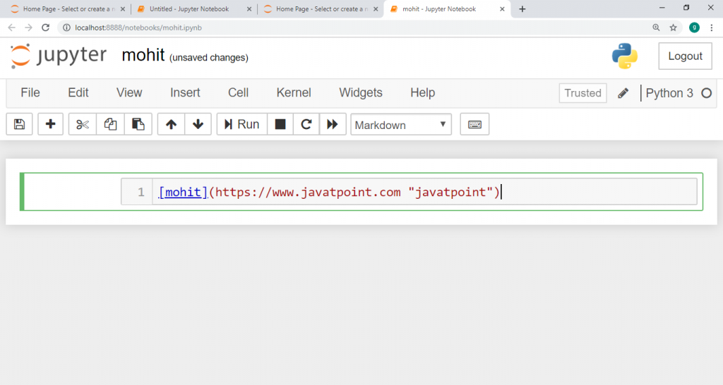 Hyperlink in the jupyter Notebook.