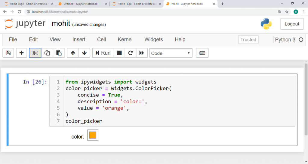 how to pick a color in Jupyter Notebook.