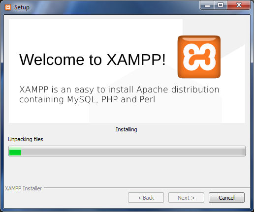 installation will start for XAMPP.