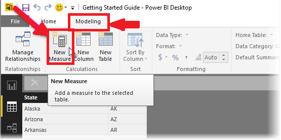 select the New Measure option.
