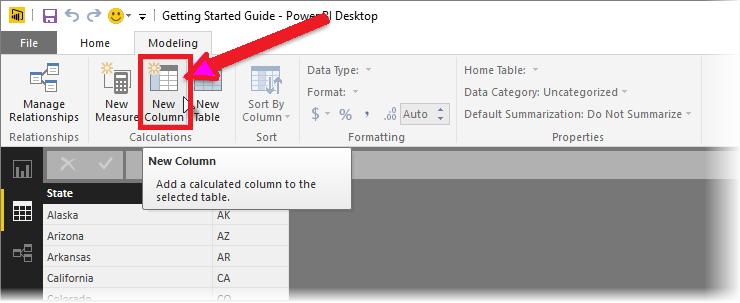 select the new column option.