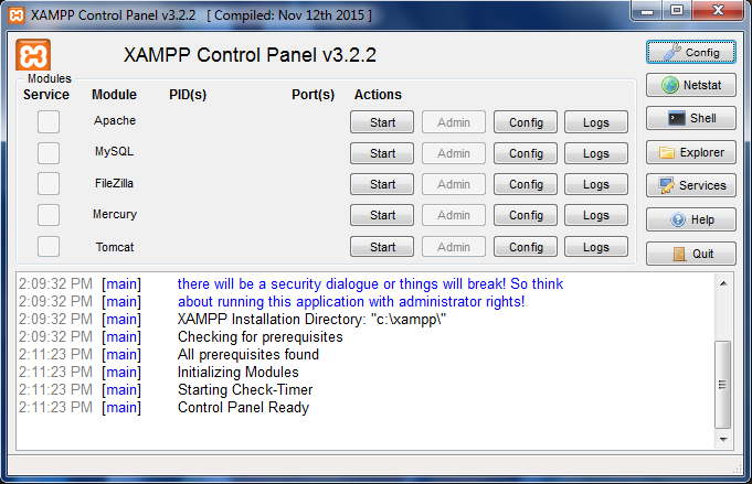 start this type of control panel for XAMPP.