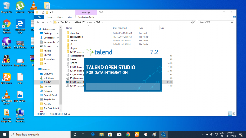 when you launch Talend