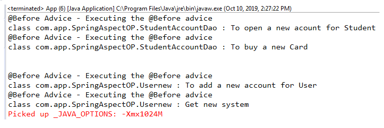 Before advice is applied to every method available in the package.