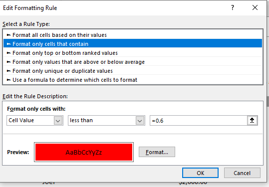 Conditional formatting- Highlight Cell Rules - less than
