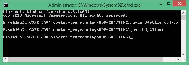 Sending the UDP packets to the server.