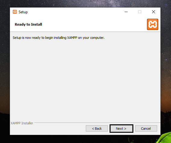 XAMPP setup is ready to get installed