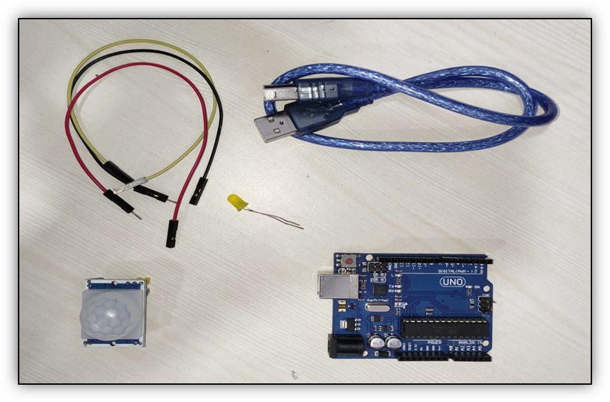 Arduino UNO Board with PIR Motion Sensor
