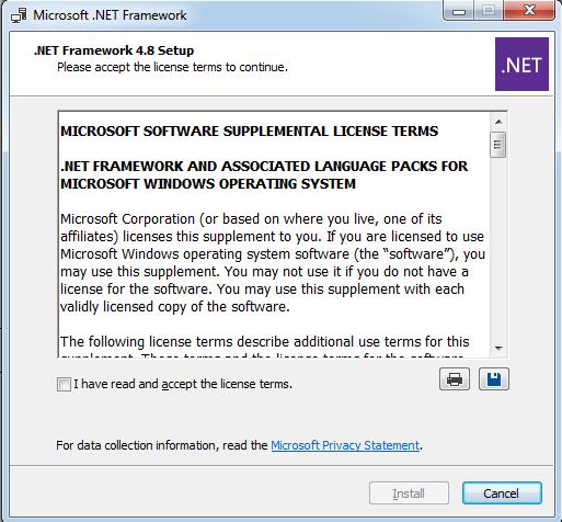 Configuration of .NET Framework8