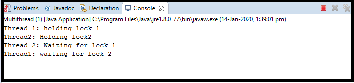 Deadlock in Java2