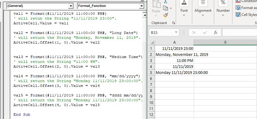 Excel VBA Format Function