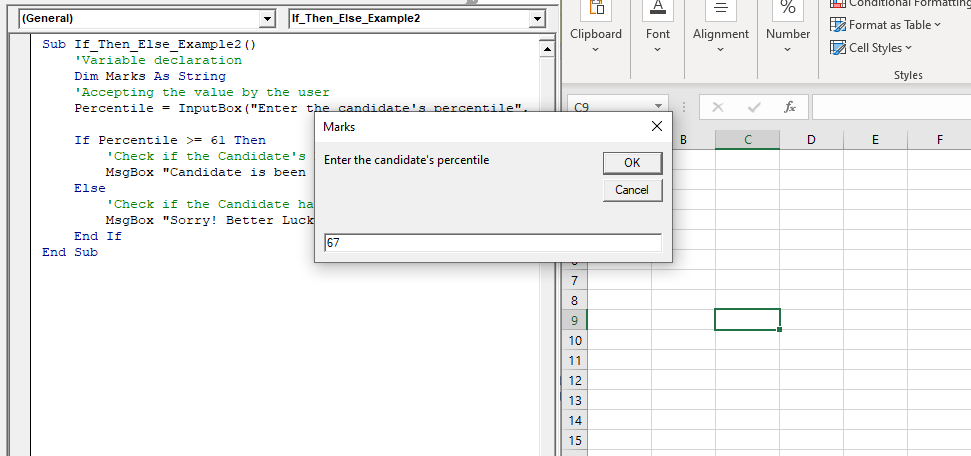 IF THEN  ELSE Statement in VBA2