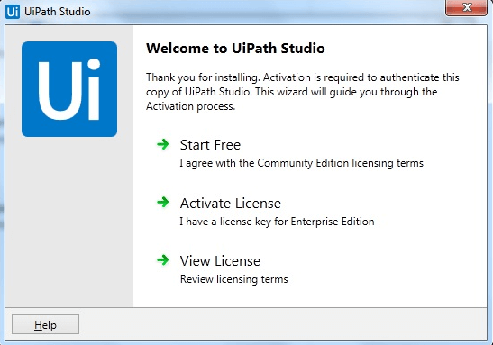 UiPath Studio is successfully installed