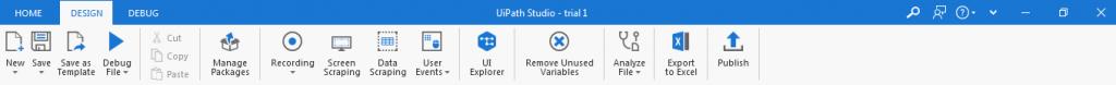 UiPath Design tab