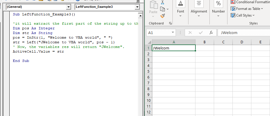 Excel VBA Left Function
