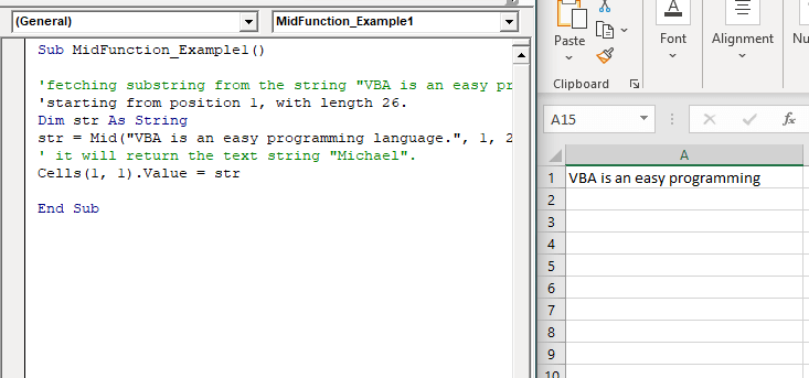 Excel VBA Mid Function